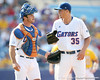 Florida sophomore catcher Ben McMahan talks with Brian Johnson during the Gators' 10-6 loss to the LSU Tigers in the SEC Tournament on Wednesday, May 26, 2010 at Regions Park in Hoover, Ala. / Gator Country photo by Tim Casey