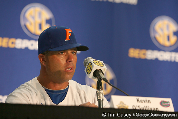Florida baseball head coach Kevin O'Sullivan talks to reporters after the Gators' 10-6 loss to the LSU Tigers in the SEC Tournament on Wednesday, May 26, 2010 at Regions Park in Hoover, Ala. / Gator Country photo by Tim Casey