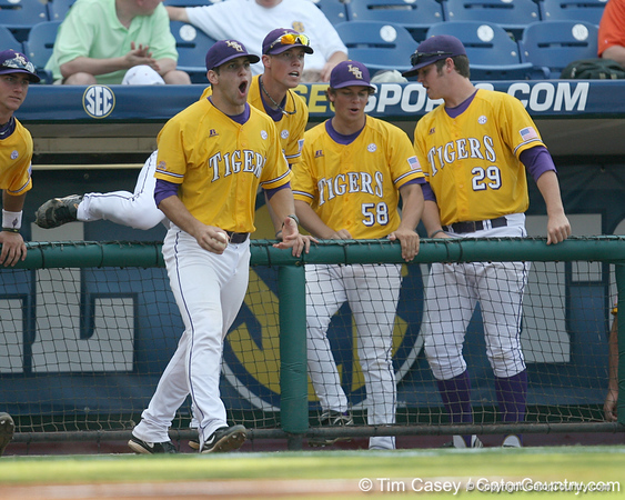 LSU players react during the Gators' 10-6 loss to the Tigers in the SEC Tournament on Wednesday, May 26, 2010 at Regions Park in Hoover, Ala. / Gator Country photo by Tim Casey