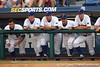 Florida players watch from the dugout during the Gators' 10-6 loss to the LSU Tigers in the SEC Tournament on Wednesday, May 26, 2010 at Regions Park in Hoover, Ala. / Gator Country photo by Tim Casey
