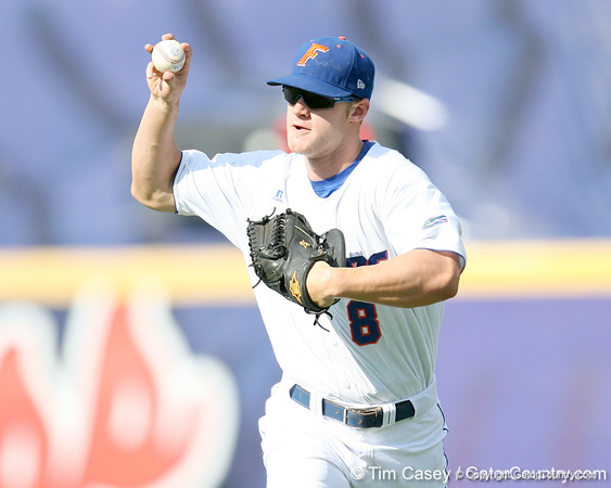 Florida sophomore outfielder Daniel Pigott returns the ball to the infield during the Gators' 10-6 loss to the LSU Tigers in the SEC Tournament on Wednesday, May 26, 2010 at Regions Park in Hoover, Ala. / Gator Country photo by Tim Casey