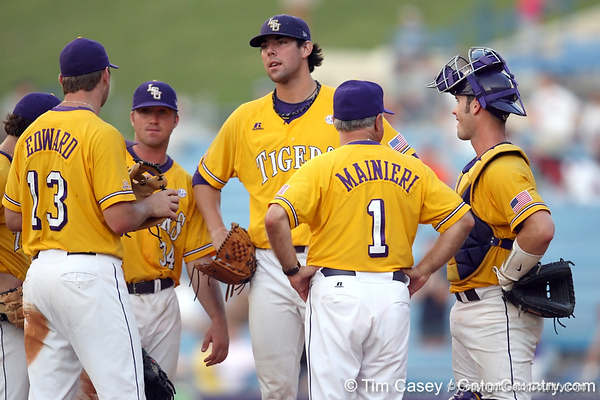 LSU junior pitcher Anthony Ranaudo reacts after getting taken out of the game during the Gators' 10-6 loss to the LSU Tigers in the SEC Tournament on Wednesday, May 26, 2010 at Regions Park in Hoover, Ala. / Gator Country photo by Tim Casey