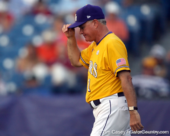LSU coach Paul Mainieri walks to the mound during the Gators' 10-6 loss to the Tigers in the SEC Tournament on Wednesday, May 26, 2010 at Regions Park in Hoover, Ala. / Gator Country photo by Tim Casey