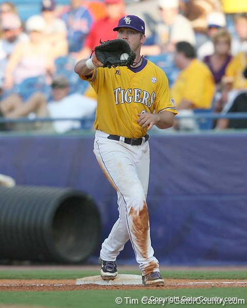 LSU first baseman Blake Dean makes a putout during the Gators' 10-6 loss to the LSU Tigers in the SEC Tournament on Wednesday, May 26, 2010 at Regions Park in Hoover, Ala. / Gator Country photo by Tim Casey