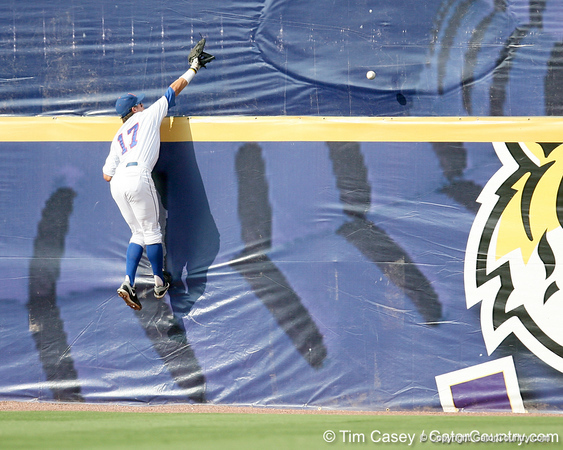 Florida senior Matt den Dekker attempts to catch a home run hit by LSU's Matt Gaudet during the Gators' 10-6 loss to the LSU Tigers in the SEC Tournament on Wednesday, May 26, 2010 at Regions Park in Hoover, Ala. / Gator Country photo by Tim Casey