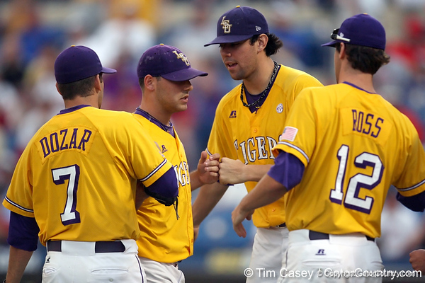 LSU pitcher Paul Bertuccini returns to the dugout during the Gators' 10-6 loss to the LSU Tigers in the SEC Tournament on Wednesday, May 26, 2010 at Regions Park in Hoover, Ala. / Gator Country photo by Tim Casey