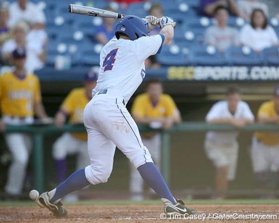 Florida freshman infielder Nolan Fontana gets hit by a pitch during the Gators' 10-6 loss to the LSU Tigers in the SEC Tournament on Wednesday, May 26, 2010 at Regions Park in Hoover, Ala. / Gator Country photo by Tim Casey