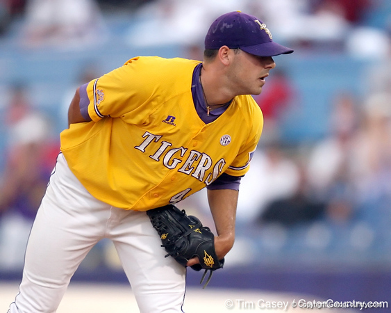 LSU pitcher Paul Bertuccini looks for a pitch signal during the Gators' 10-6 loss to the LSU Tigers in the SEC Tournament on Wednesday, May 26, 2010 at Regions Park in Hoover, Ala. / Gator Country photo by Tim Casey