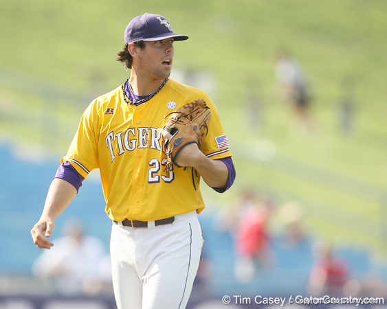 LSU junior pitcher Anthony Ranaudo follows the ball during the Gators' 10-6 loss to the LSU Tigers in the SEC Tournament on Wednesday, May 26, 2010 at Regions Park in Hoover, Ala. / Gator Country photo by Tim Casey
