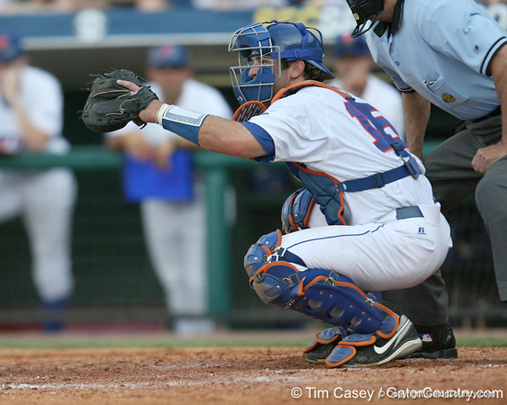 Florida sophomore catcher Ben McMahan sets up for a pitch during the Gators' 10-6 loss to the LSU Tigers in the SEC Tournament on Wednesday, May 26, 2010 at Regions Park in Hoover, Ala. / Gator Country photo by Tim Casey