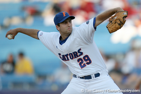 Florida junior pitcher Matt Campbell winds up during the Gators' 10-6 loss to the LSU Tigers in the SEC Tournament on Wednesday, May 26, 2010 at Regions Park in Hoover, Ala. / Gator Country photo by Tim Casey