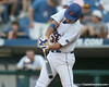 Florida freshman pitcher Brian Johnson hits a double during the sixth inning of the Gators' 10-6 loss to the LSU Tigers in the SEC Tournament on Wednesday, May 26, 2010 at Regions Park in Hoover, Ala. / Gator Country photo by Tim Casey
