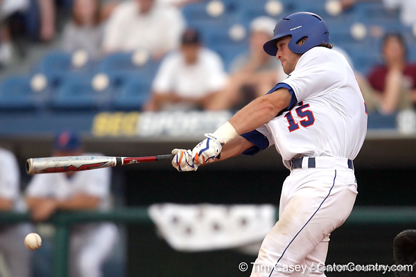 Florida sophomore catcher Ben McMahan swings at a pitch during the Gators' 10-6 loss to the LSU Tigers in the SEC Tournament on Wednesday, May 26, 2010 at Regions Park in Hoover, Ala. / Gator Country photo by Tim Casey