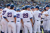 Florida players huddle before the Gators' 10-6 loss to the LSU Tigers in the SEC Tournament on Wednesday, May 26, 2010 at Regions Park in Hoover, Ala. / Gator Country photo by Tim Casey