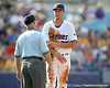 Florida freshman pitcher Brian Johnson talks to an umpire during the Gators' 10-6 loss to the LSU Tigers in the SEC Tournament on Wednesday, May 26, 2010 at Regions Park in Hoover, Ala. / Gator Country photo by Tim Casey