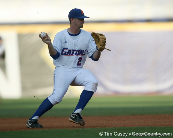 Florida junior Josh Adams throws to first base during the Gators' 10-6 loss to the LSU Tigers in the SEC Tournament on Wednesday, May 26, 2010 at Regions Park in Hoover, Ala. / Gator Country photo by Tim Casey