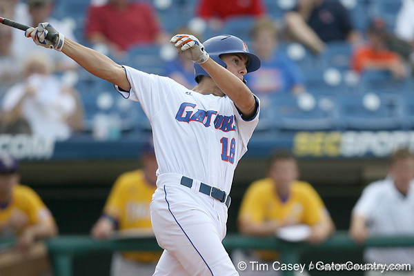 Florida sophomore outfielder Tyler Thompson strikes out during the Gators' 10-6 loss to the LSU Tigers in the SEC Tournament on Wednesday, May 26, 2010 at Regions Park in Hoover, Ala. / Gator Country photo by Tim Casey