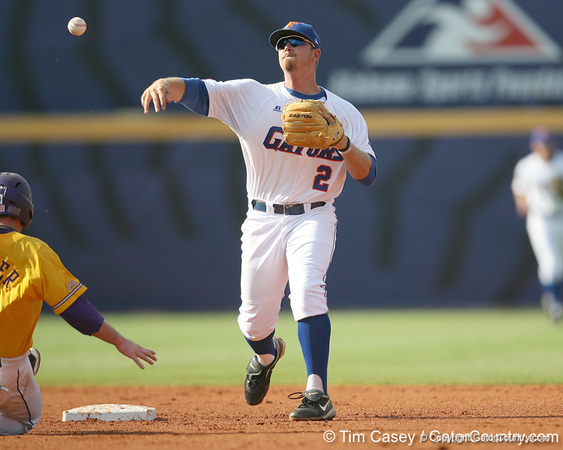 Florida junior Josh Adams turns a double play during the Gators' 10-6 loss to the LSU Tigers in the SEC Tournament on Wednesday, May 26, 2010 at Regions Park in Hoover, Ala. / Gator Country photo by Tim Casey