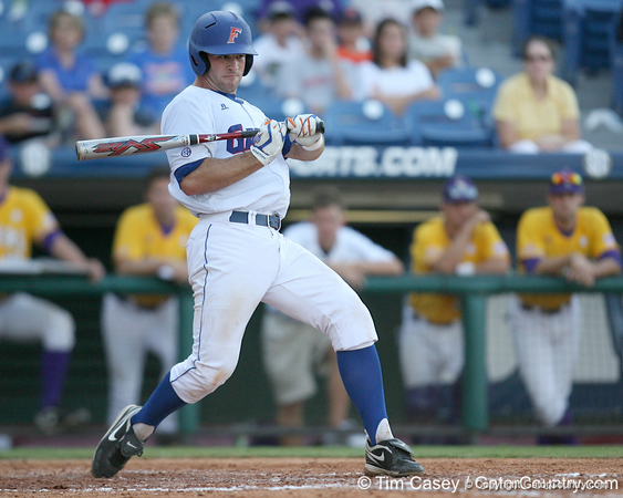 Florida sophomore catcher Ben McMahan avoids a pitch during the Gators' 10-6 loss to the LSU Tigers in the SEC Tournament on Wednesday, May 26, 2010 at Regions Park in Hoover, Ala. / Gator Country photo by Tim Casey