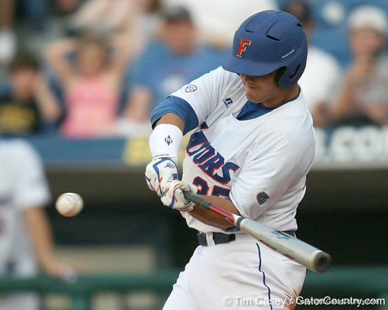Florida sophomore Preston Tucker squares up a pitch during the Gators' 10-6 loss to the LSU Tigers in the SEC Tournament on Wednesday, May 26, 2010 at Regions Park in Hoover, Ala. / Gator Country photo by Tim Casey
