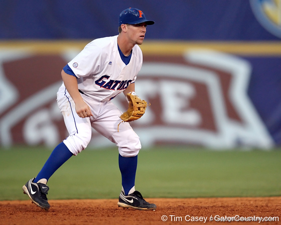Florida freshman shortstop Nolan Fontana gets in position during the Gators' 10-6 loss to the LSU Tigers in the SEC Tournament on Wednesday, May 26, 2010 at Regions Park in Hoover, Ala. / Gator Country photo by Tim Casey
