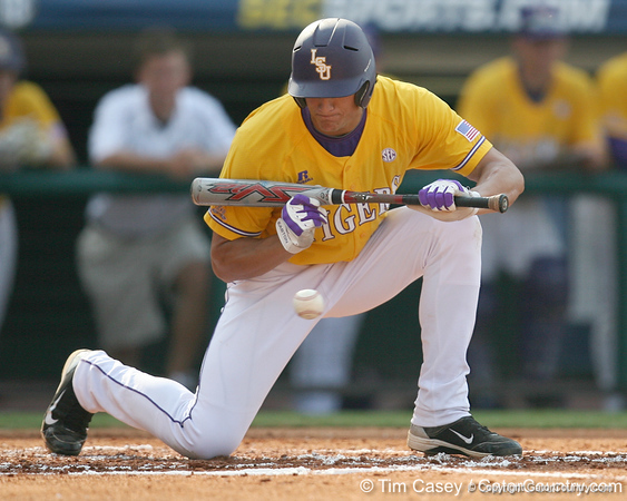 LSU right fielder pulls back a bunt attempt during the Gators' 10-6 loss to the LSU Tigers in the SEC Tournament on Wednesday, May 26, 2010 at Regions Park in Hoover, Ala. / Gator Country photo by Tim Casey