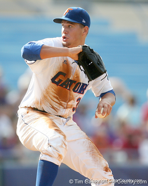 Florida freshman pitcher Brian Johnson winds up during the Gators' 10-6 loss to the LSU Tigers in the SEC Tournament on Wednesday, May 26, 2010 at Regions Park in Hoover, Ala. / Gator Country photo by Tim Casey