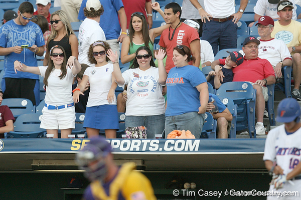 Florida fans cheer during the Gators' 10-6 loss to the LSU Tigers in the SEC Tournament on Wednesday, May 26, 2010 at Regions Park in Hoover, Ala. / Gator Country photo by Tim Casey