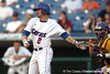 Florida junior Josh Adams hits a single during the Gators' 10-6 loss to the LSU Tigers in the SEC Tournament on Wednesday, May 26, 2010 at Regions Park in Hoover, Ala. / Gator Country photo by Tim Casey