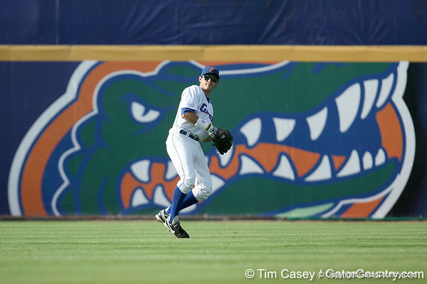 Florida senior Matt den Dekker throws the ball to the infield during the Gators' 10-6 loss to the LSU Tigers in the SEC Tournament on Wednesday, May 26, 2010 at Regions Park in Hoover, Ala. / Gator Country photo by Tim Casey