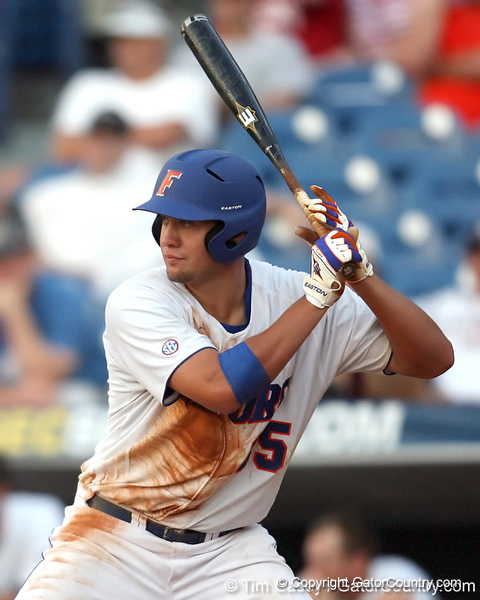 Florida freshman Brian Johnson bats during the Gators' 10-6 loss to the LSU Tigers in the SEC Tournament on Wednesday, May 26, 2010 at Regions Park in Hoover, Ala. / Gator Country photo by Tim Casey