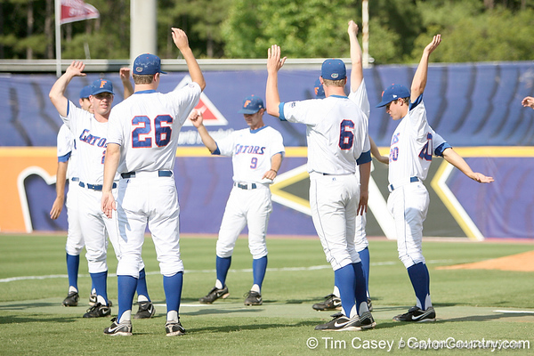 Florida players stay loose during the Gators' 10-6 loss to the LSU Tigers in the SEC Tournament on Wednesday, May 26, 2010 at Regions Park in Hoover, Ala. / Gator Country photo by Tim Casey