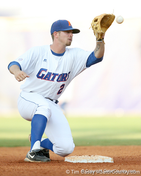 Florida junior Josh Adams tags out LSU's Blake Dean on a stolen base attempt during the Gators' 10-6 loss to the Tigers in the SEC Tournament on Wednesday, May 26, 2010 at Regions Park in Hoover, Ala. / Gator Country photo by Tim Casey