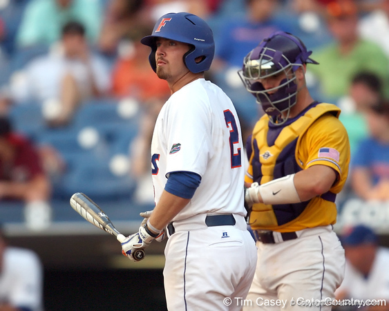 Florida junior Josh Adams looks for a signal from a coach during the Gators' 10-6 loss to the LSU Tigers in the SEC Tournament on Wednesday, May 26, 2010 at Regions Park in Hoover, Ala. / Gator Country photo by Tim Casey