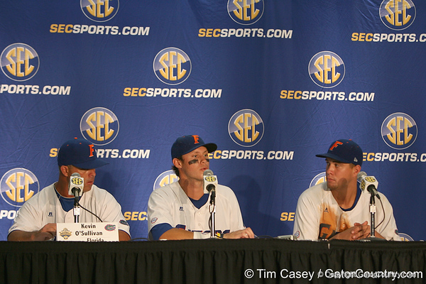 Florida senior Matt den Dekker talks to reporters after the Gators' 10-6 loss to the LSU Tigers in the SEC Tournament on Wednesday, May 26, 2010 at Regions Park in Hoover, Ala. / Gator Country photo by Tim Casey