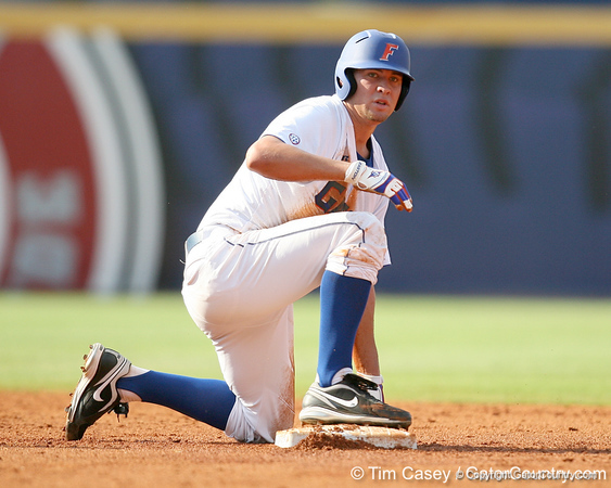 Florida freshman pitcher Brian Johnson slides into second base during the Gators' 10-6 loss to the LSU Tigers in the SEC Tournament on Wednesday, May 26, 2010 at Regions Park in Hoover, Ala. / Gator Country photo by Tim Casey