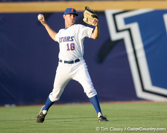 Florida sophomore outfielder Tyler Thompson throws the ball to the infield during the Gators' 10-6 loss to the LSU Tigers in the SEC Tournament on Wednesday, May 26, 2010 at Regions Park in Hoover, Ala. / Gator Country photo by Tim Casey