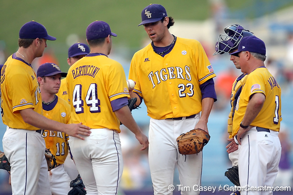 LSU pitcher Anthony Ranaudo hands the ball to a Paul Bertuccini during the Gators' 10-6 loss to the LSU Tigers in the SEC Tournament on Wednesday, May 26, 2010 at Regions Park in Hoover, Ala. / Gator Country photo by Tim Casey