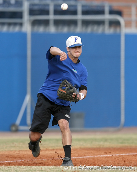 Florida senior infielder Jandy Rosabal throws to first base during the Gators' first day of practice on Friday, January 29, 2010 at McKethan Stadium in Gainesville, Fla. / Gator Country photo by Tim Casey