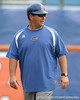Florida baseball assistant coach Craig Bell watches warmups during the Gators' first day of practice on Friday, January 29, 2010 at McKethan Stadium in Gainesville, Fla. / Gator Country photo by Tim Casey