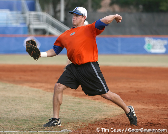 Florida senior Matt den Dekker works out at first base during the Gators' first day of practice on Friday, January 29, 2010 at McKethan Stadium in Gainesville, Fla. / Gator Country photo by Tim Casey