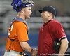Florida freshman catcher Austin Maddox talks with the umpire during the Gators' first day of practice on Friday, January 29, 2010 at McKethan Stadium in Gainesville, Fla. / Gator Country photo by Tim Casey