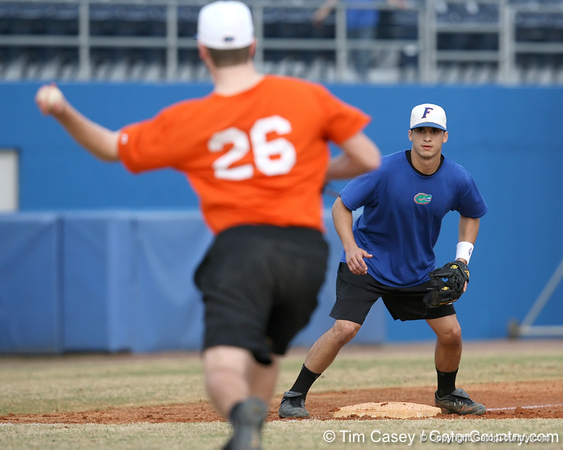 Florida senior infielder Jandy Rosabal fields a throw at third base during the Gators' first day of practice on Friday, January 29, 2010 at McKethan Stadium in Gainesville, Fla. / Gator Country photo by Tim Casey