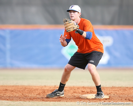 Florida junior infielder Bryson Smith fields a throw at second base during the Gators' first day of practice on Friday, January 29, 2010 at McKethan Stadium in Gainesville, Fla. / Gator Country photo by Tim Casey