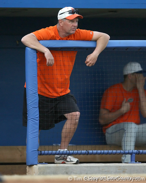 Florida baseball assistant coach Brad Weitzel looks on during the Gators' first day of practice on Friday, January 29, 2010 at McKethan Stadium in Gainesville, Fla. / Gator Country photo by Tim Casey