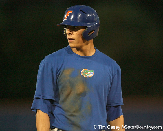 Florida sophomore outfielder Tyler Thompson looks to the coach after hitting a triple during the Gators' first day of practice on Friday, January 29, 2010 at McKethan Stadium in Gainesville, Fla. / Gator Country photo by Tim Casey