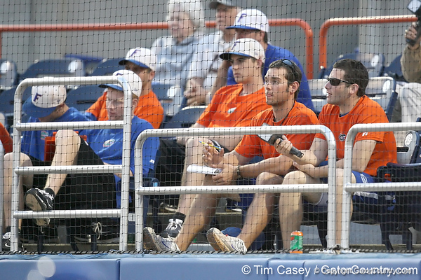 Florida student managers chart pitches during the Gators' first day of practice on Friday, January 29, 2010 at McKethan Stadium in Gainesville, Fla. / Gator Country photo by Tim Casey