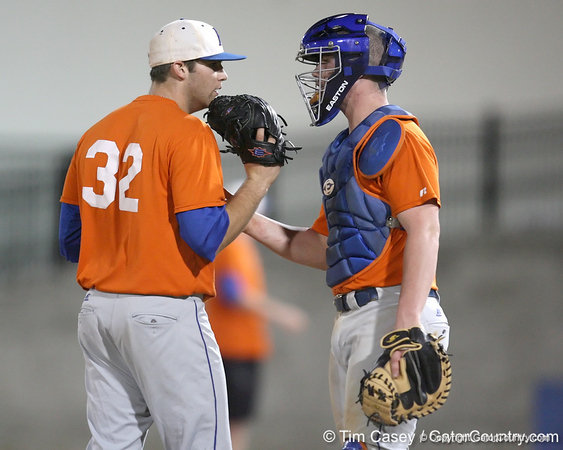 Florida freshman pitcher Steven Rodriguez talks with freshman catcher Austin Maddox during the Gators' first day of practice on Friday, January 29, 2010 at McKethan Stadium in Gainesville, Fla. / Gator Country photo by Tim Casey