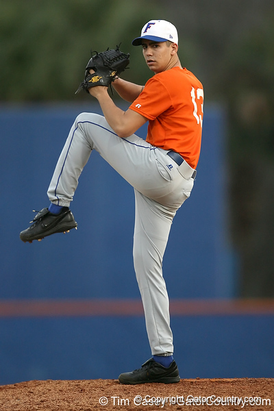 Florida sophomore pitcher Tommy Toledo warms up during the Gators' first day of practice on Friday, January 29, 2010 at McKethan Stadium in Gainesville, Fla. / Gator Country photo by Tim Casey