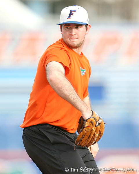 Florida sophomore pitcher Alex Panteliodis winds up during the Gators' first day of practice on Friday, January 29, 2010 at McKethan Stadium in Gainesville, Fla. / Gator Country photo by Tim Casey